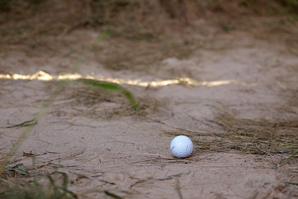 Dustin Johnson's Ball in Bunker Whistling Straights
